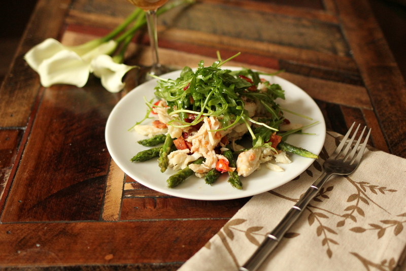 Crab and asparagus salad with natura chardonnay recipe.