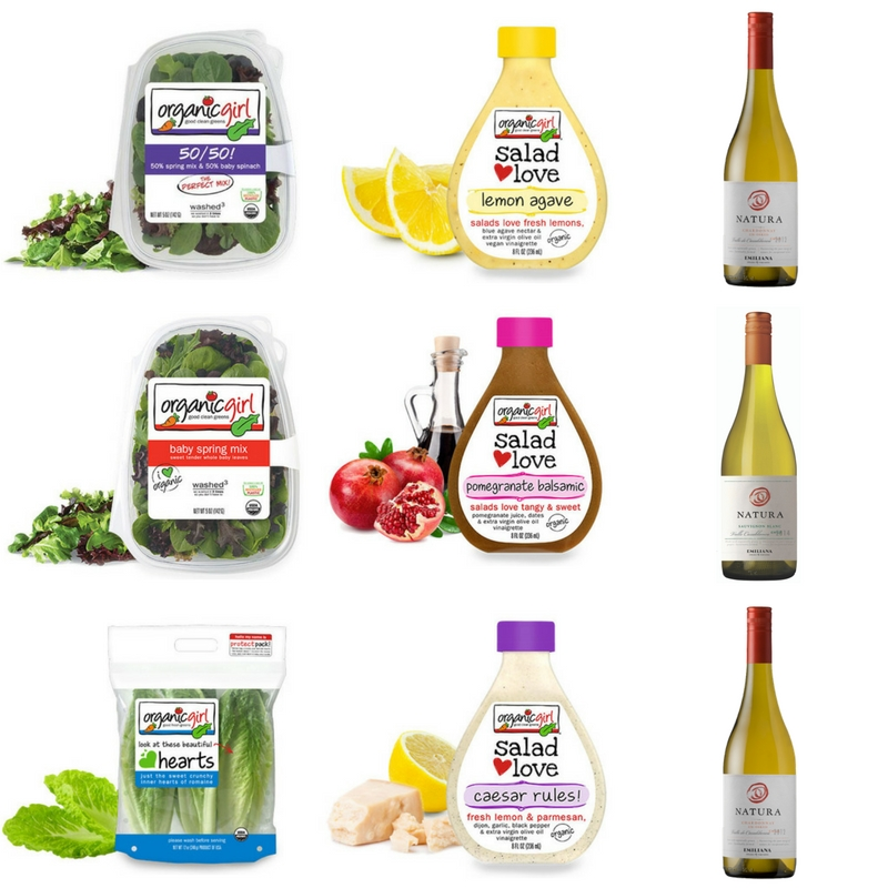 Organic Girl baby spring mix salads and natura wines.