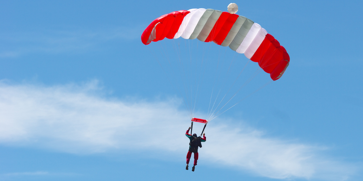 A man partaking in skydiving, one of the top adrenaline-pumping activities